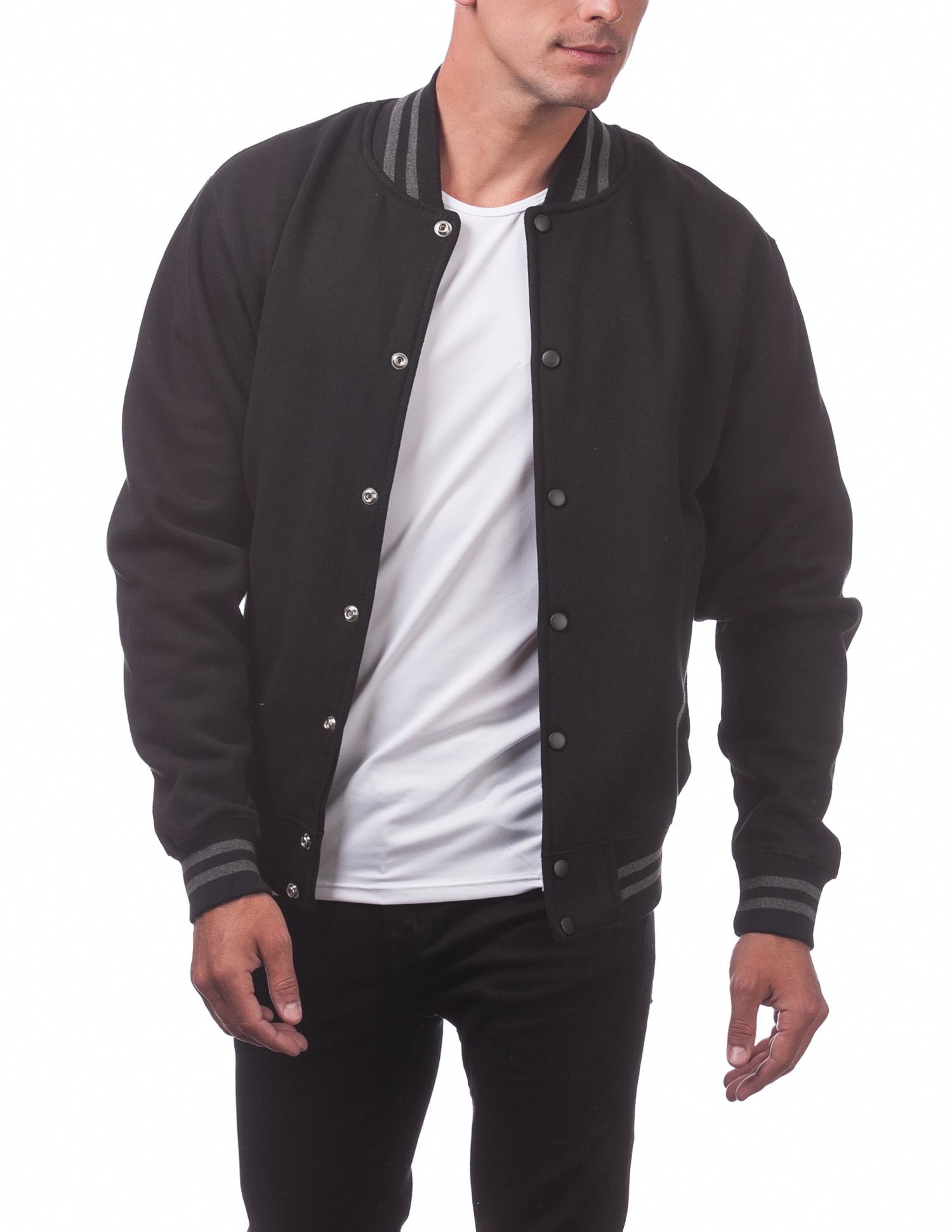 124 Black Black Men S Varsity Fleece Baseball Jacket