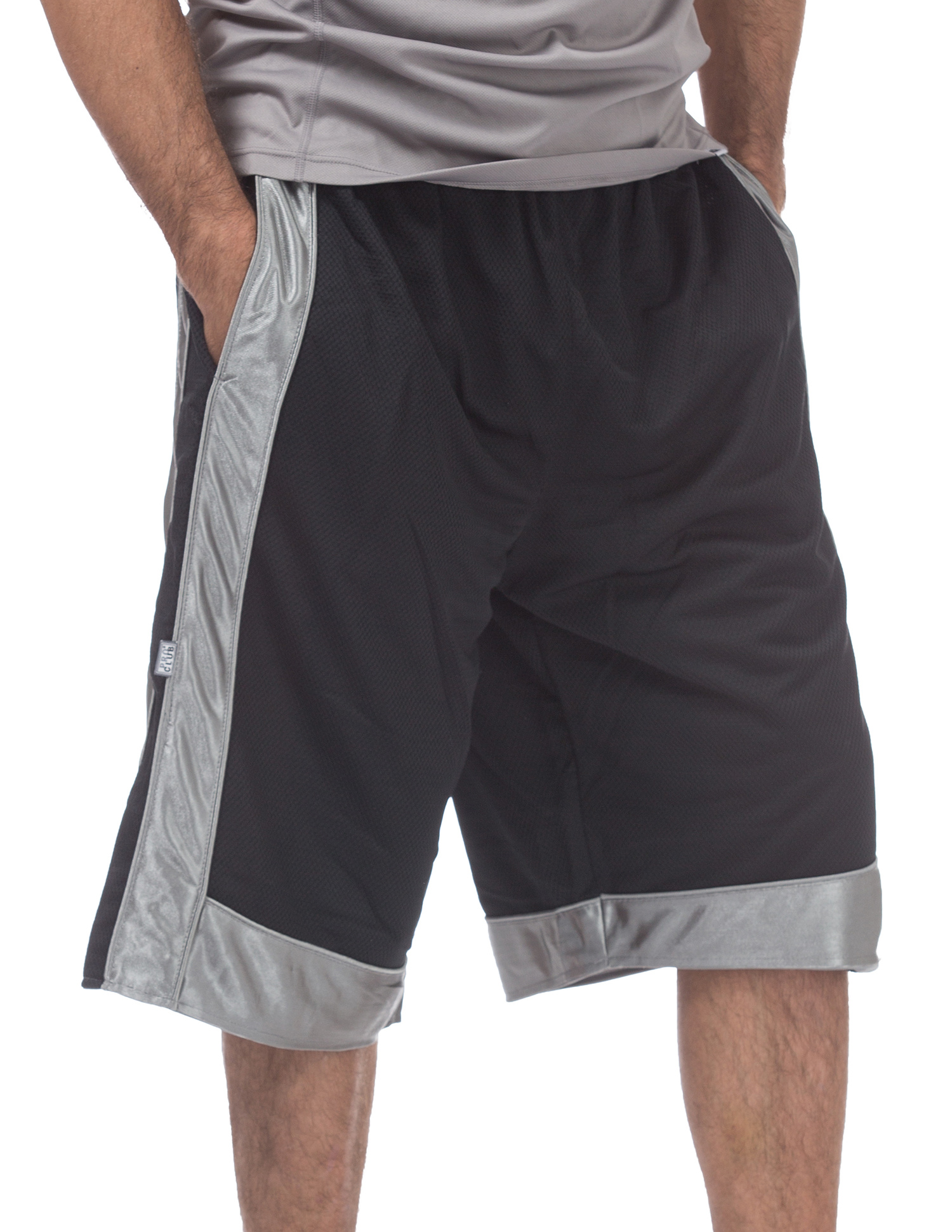 161 Black Gray Heavyweight Mesh Basketball Shorts