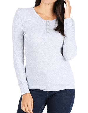 Women's Long Sleeve Thermal Henley Tee